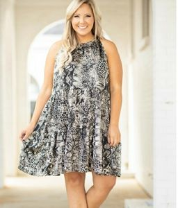 LET YOUR GUARD DOWN SNAKE PRINT DRESS